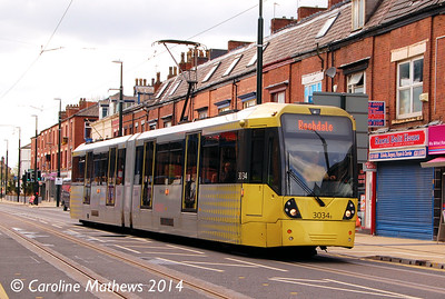 Metrolink 3034, Union Street, Oldham, 26th April 2014