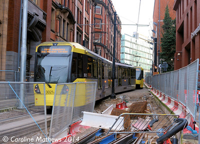 Metrolink 3049 and 3021, Balloon Street, 6th December 2014