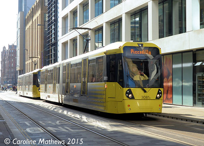 Metrolink 3081, Mosley Street, Manchester, 7th March 2015