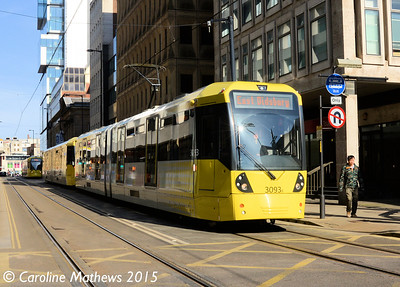 Metrolink 3093, Mosley Street, Manchester, 7th March 2015