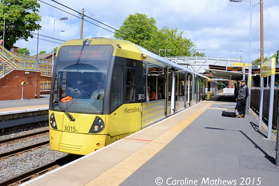 Metrolink 3015, Crumpsall, Manchester, 5th June 2015