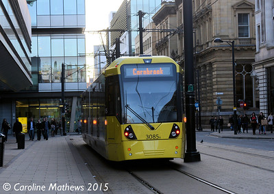 Metrolink 3085, Mosley Street, Manchester, 7th March 2015