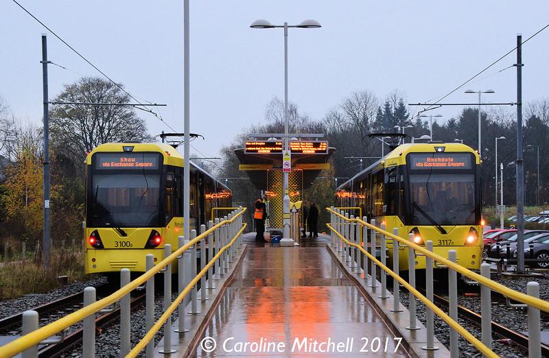 Metrolink 3100 and 3117, East Didsbury, 2nd December 2017