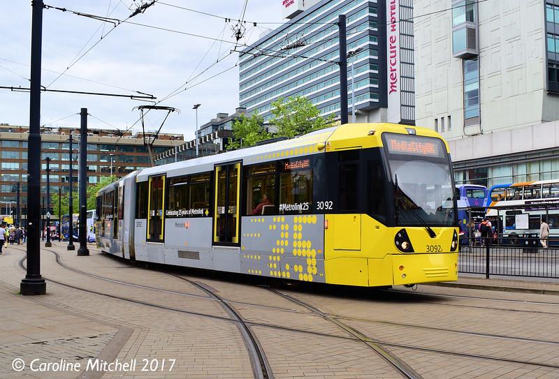 Manchester Metrolink 3092, Piccadilly Gardens, 3rd June 2017