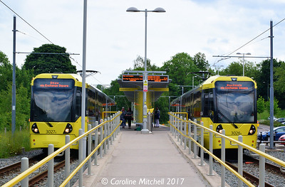 Manchester Metrolink 3026 and 3027, East Didsbury, 3rd June 2017