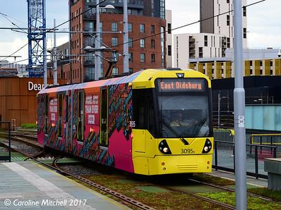 Manchester Metrolink 3095, Deansgate-Castlefield, 3rd June 2017