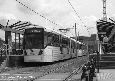 Manchester Metrolink 3077 and 3081, Deansgate-Castlefield, 3rd June 2017