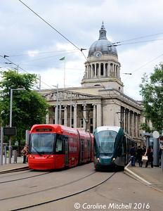 Nottingham Express Transit 206 and 227, Old Market Square, Nottingham, 9th September 2016