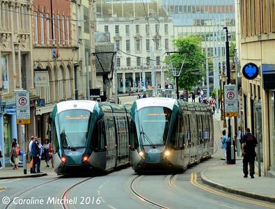 Nottingham Express Transit 233 and 221, Nottingham, 9th September 2016
