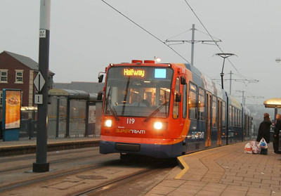 Stagecoach Supertram 119, Gleadless Townend, 23rd December 2006