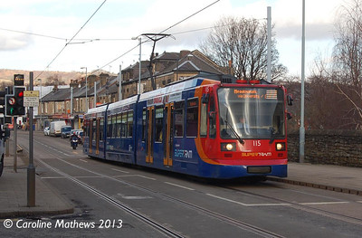Supertram 115, Middlewood Road, 2nd January 2013