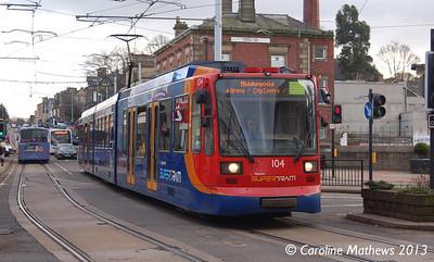 Stagecoach Supertram 104, Hillsborough, 2nd January 2013