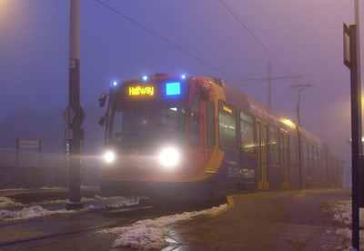 Stagecoach Supertram 124 at Gleadless Townend, 24th December 2009