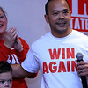 "Senator Dean Tran took off his red button down shirt and was wearing a t-shirt that said ""Win Again!""as he addresses the crowd at his campaign party at the Leominster Elks. Just behind him is his wife Kerry and son Deano. SENTINEL & ENTERPRISE/JOHN LOVE"