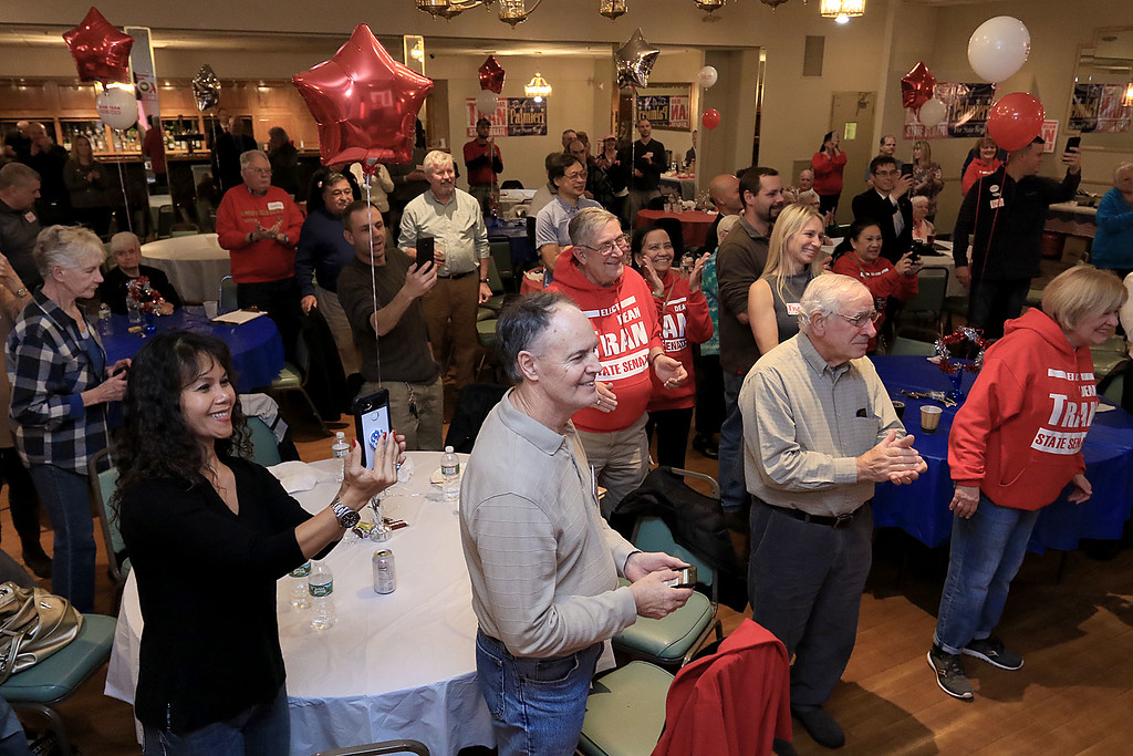 . The crowd gave Senator Dean Tran a standing ovation as he makes his way to the stage during his campaign party, November 6, 2018. SENTINEL & ENTERPRISE/JOHN LOVE
