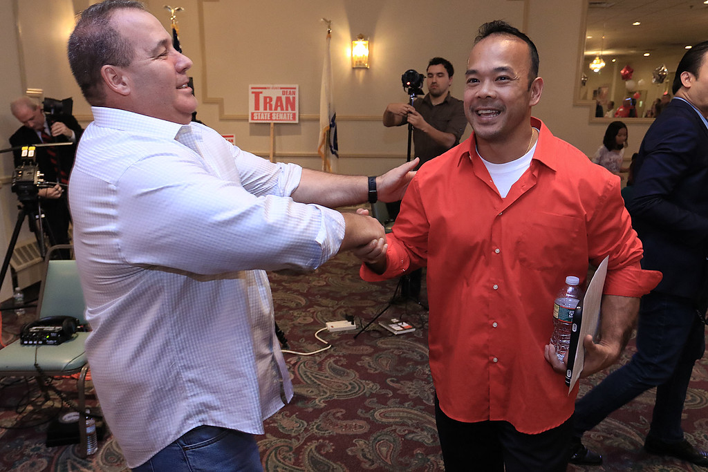 . Scenes from Senator Dean Tran\'s campaign party at the Leominster Elks. SENTINEL & ENTERPRISE/JOHN LOVE