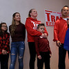 Senator Dean Tran stands with his family as he addresses the crowd at his campaign party at the Leominster Elks, November 6, 2018. From left is Madilyn, 8, Olivia, 15, Deano, 5, and his wife Kerry. SENTINEL & ENTERPRISE/JOHN LOVE