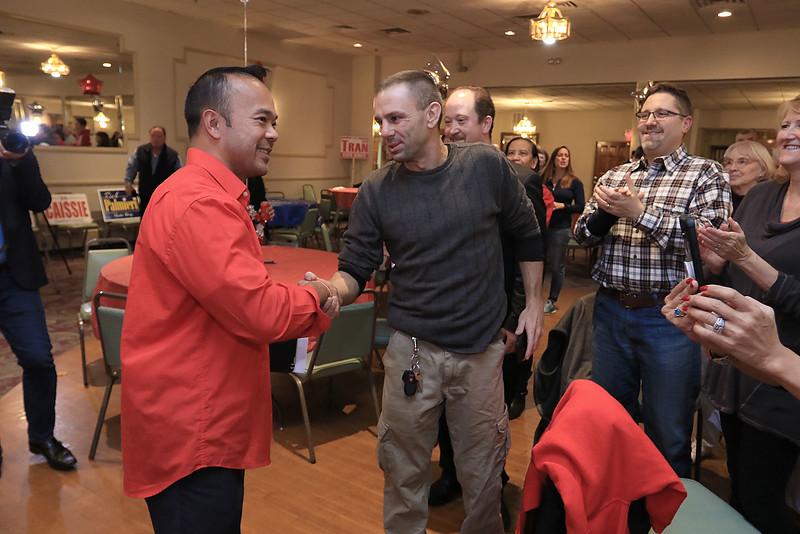 Scenes from Senator Dean Tran's campaign party at the Leominster Elks. SENTINEL & ENTERPRISE/JOHN LOVE