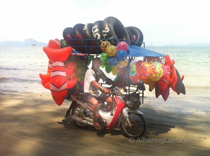 Inflatable Toys seller, Pak Meng Beach,Trang, Thailand