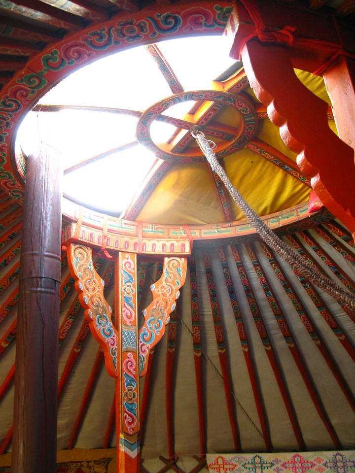 Inside the family's ger (yurt) in the Gobi desert