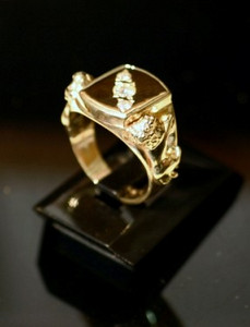 View Two of the finished ring with Lions attached and Diamonds set diagonally.
