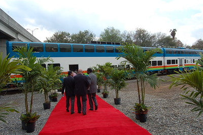 A red carpet leads to the demonstration train.