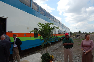 A Colorado Railcar DMU sits in Downtown Jacksonville as a demonstration unit.