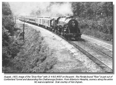 The DIXIE FLYER, from 1924 to the mid 1960's would be the last train standing between Atlanta and Jacksonville. It ran Chicago-Nashville-Chattanooga-Atlanta-JAX-Miami, daily. Toward the end it was a sad sight, 18-20 express, baggage and mail cars, and a lone coach, no other services available on it's overnight JAX-ATL trip. When the Government pulled all of the POSTAL BUSINESS off the trains FROM A SCAN