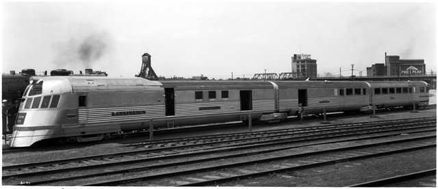 BURLINGTON RAILROAD'S, Pioneer Zephyr in 1934. This train holds the all time Chicago-Denver land speed record, often hitting speeds of 112 mph, it actually averaged 77 including stops. It's sister train then set a speed record of 122 mph, with the publicity gained business on the CB&Q increased 150%