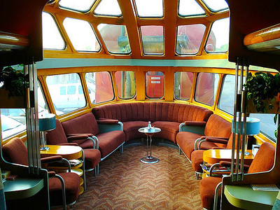 MILWAUKEE ROAD, LOUNGE CAR. Milwaukee Road - Hiawatha - Cedar Rapids, Skytop Observation Parlor Lounge Car from 1948 STYLE