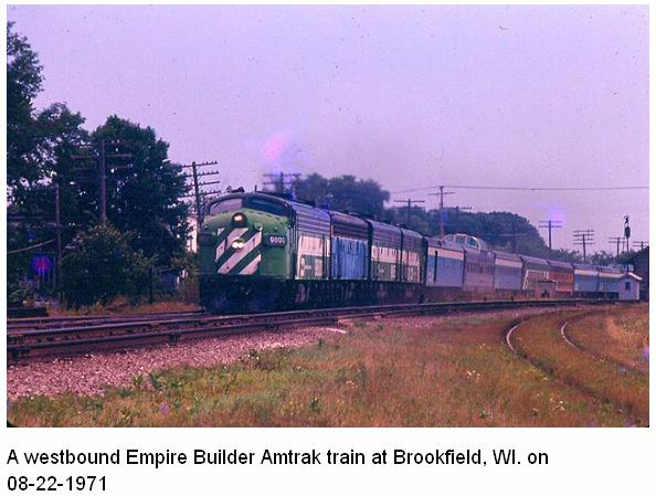 "AMTRAK, EMPIRE BUILDER, at the start of the ""Rainbow era"" so called because nothing matched. Worse, the geniuses the government brought in to teach the railroads how to run a passenger train didn't know they didn't match either. The hoses and cords didn't match either, the, electrical, steam, signal and any other lines couldn't be connected between cars. To an airline guy a coach is a coach is a coach, to a railroader it's MY COACH and YOUR COACH. Thus Amtrak ran trains at -32 in NE and +120 in AZ. GREAT START BOYS. 