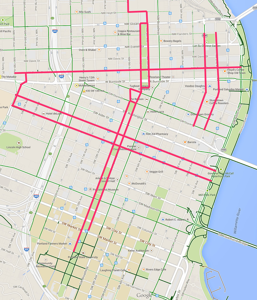 Prospective Downtown Portland Cycle-Track Routes