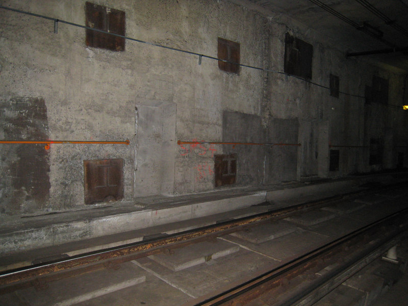 Tunnel walls between Alewife Station and Yard.