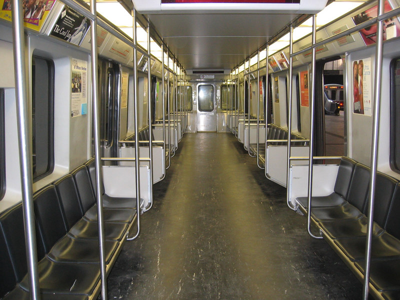 Interior of an 01800 Bombardier series Red Line car.