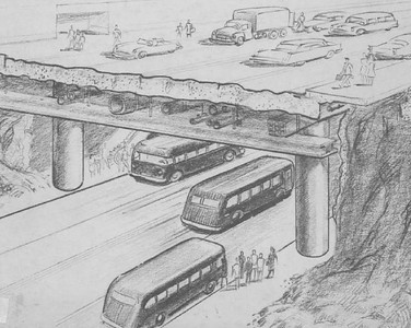 1954, The highway builders convinced Los Angeleno's that the MTA would modernize the city's mass transit system with a bus subway system. Somewhere along the way a reality check thankfully killed the idea.