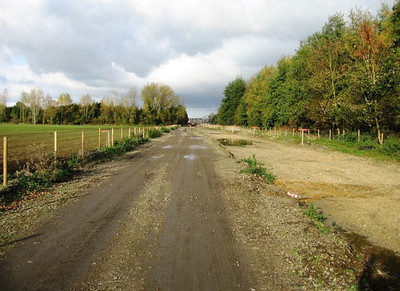 Where the trains once ran, this is the abandoned railroad in the UK where the bus guided bus is being built. The idea again is to grow the ridership so the BRT can be converted to rail, pretty amazing.