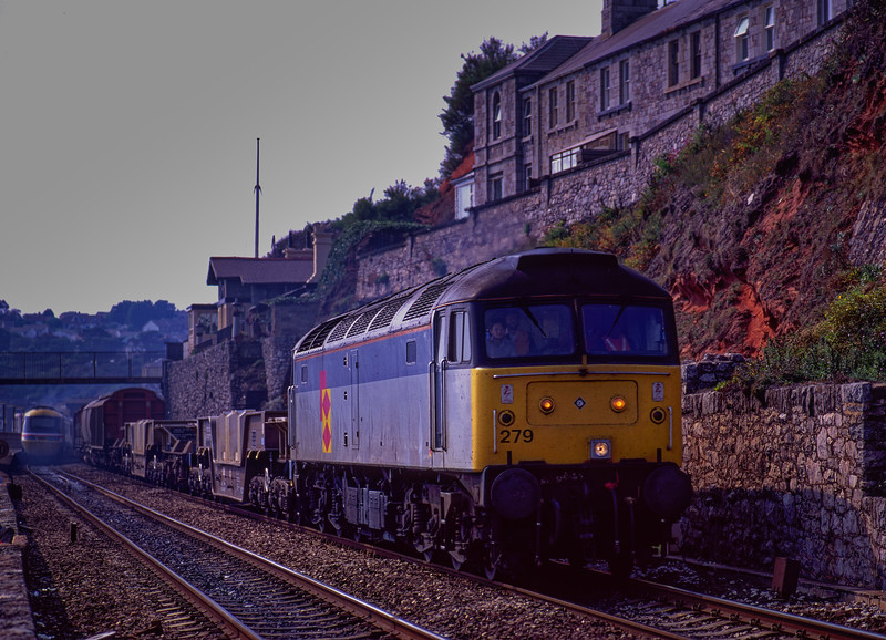 47279 at Dawlish with 6B97, the 12:00 Tavistock Junction - Gloucester, <br /> on 12th September 1990.