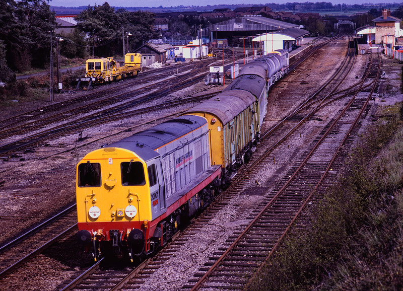 20901 and 20904 top & tail on the Chipmans Weedkilling Train. Departing Andover towards Salisbury, after spraying the Ludgershall branch on 13th April 1990.