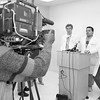 First to perform a lung transplant in Detroit – 1994 press conference<br /> Doctors, Norman Silverman, Robert Higgins, Michael Basha