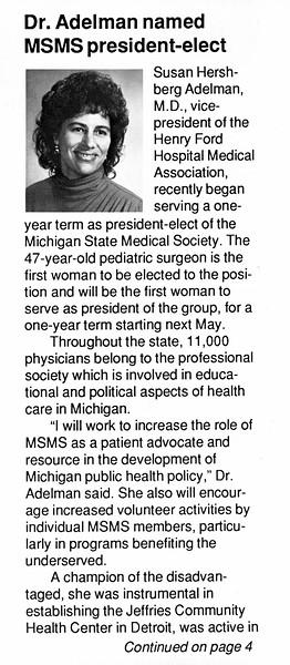 Article about Susan Adelman, M.D.