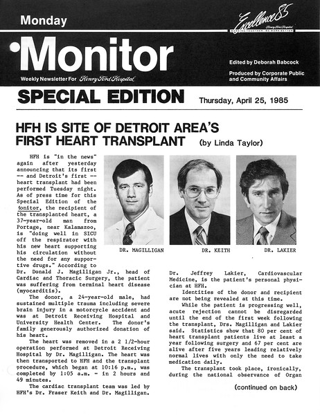 Henry Ford Hospital Monday Monitor 'HFH is site of Detroit Areas' First Heart Transplant'