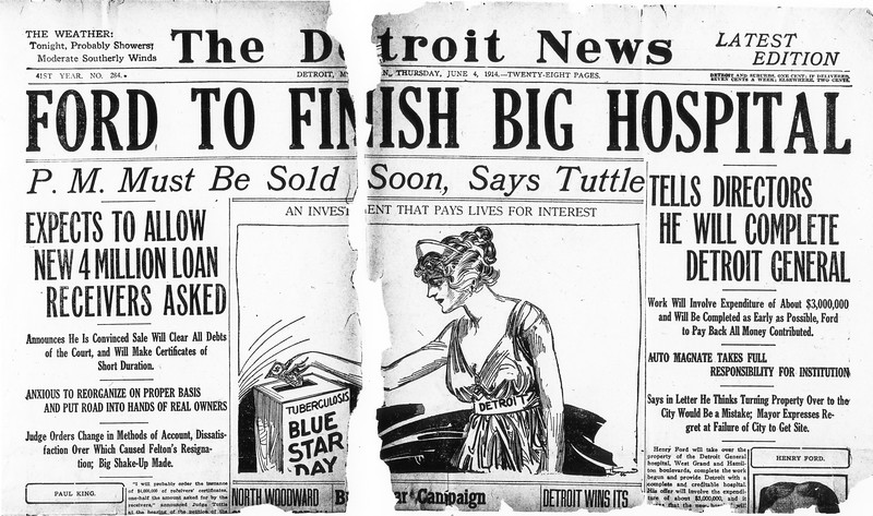 Detroit News 'Ford to Finish Big Hopsital'