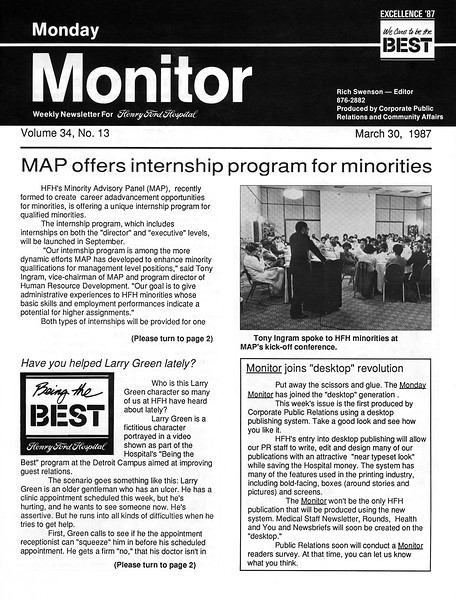 The first Monday Monitor issue produced on a desk top computer