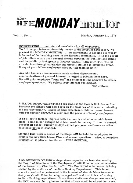 The first issue of the Henry Ford Hospital Monday Monitor