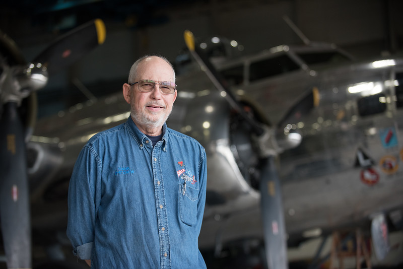 Henry Koski is an LVAD and Heart Transplant patient. He was photographed at the Yankee Air Museum where he works on a B17 bomber