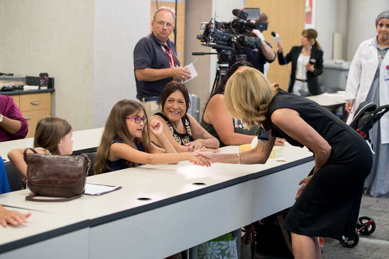 Four patients involved in a Kidney Paired Donation meet for the first time at a press conference. Jodie Novak donated her kidney to Alice Lopez and Alice's daughter Alicia Zarazua donated her kidney to James Young