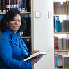 Transplant patient, Debora Dearing, in the Sladen Library.