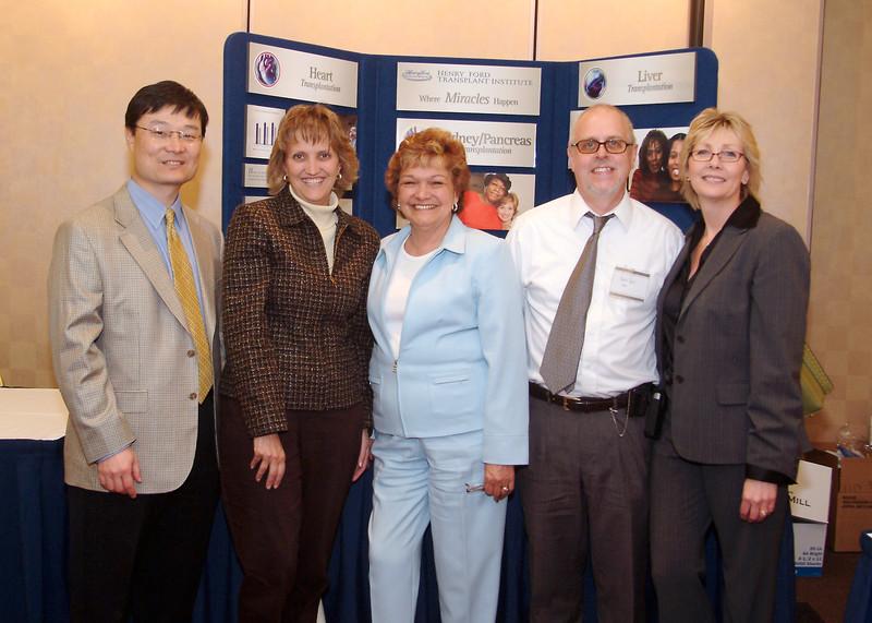 Transplant Symposium Conference, Representatives from Henry Ford Hospital Transplant team and Gift of Life Michigan-GOLM, Dean Kim, Deborah Flowers, Maxine Uniewski, Robert Hayes, Karen Heckman