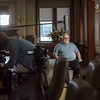 A retired HFHS Transplant employee being filmed for video to be used for Transplant 50th Anniversary.