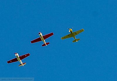 World war 11 planes fly overhead